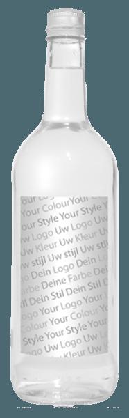 glazen waterflesje met eigen etiket