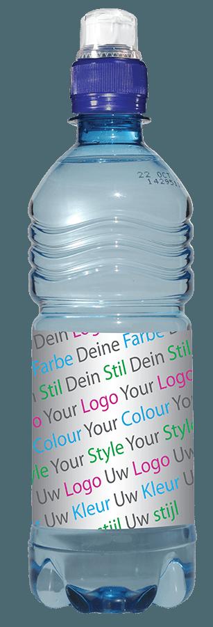 Drankenreclame Flesje Water 500ML Blauw Sport