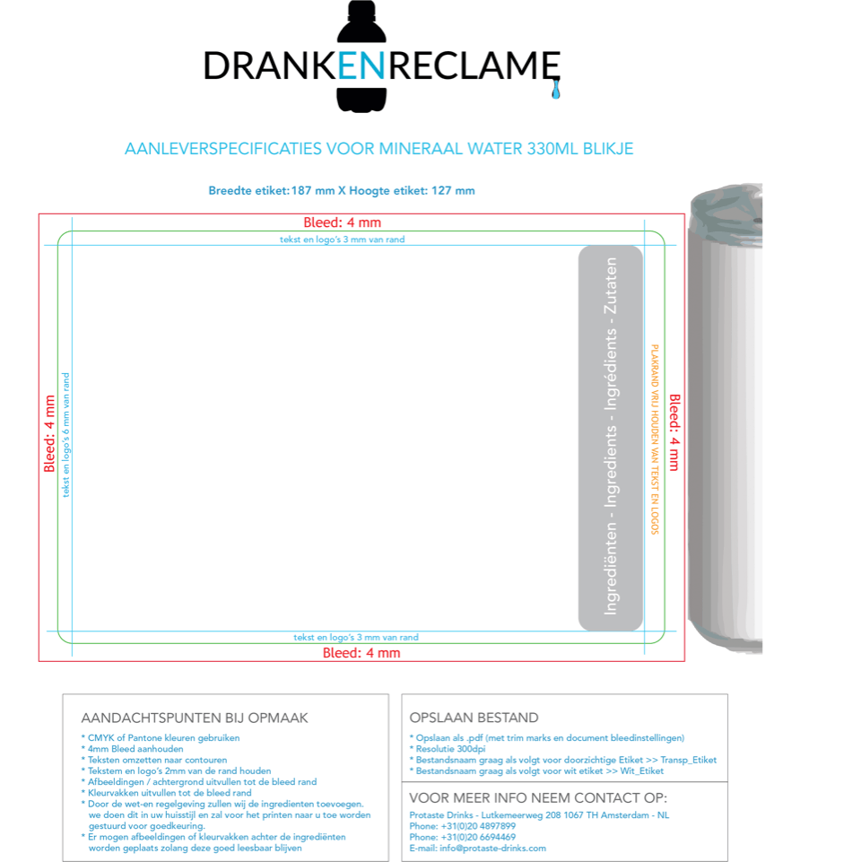 DrankenReclame Template ml Water in blikje Alu