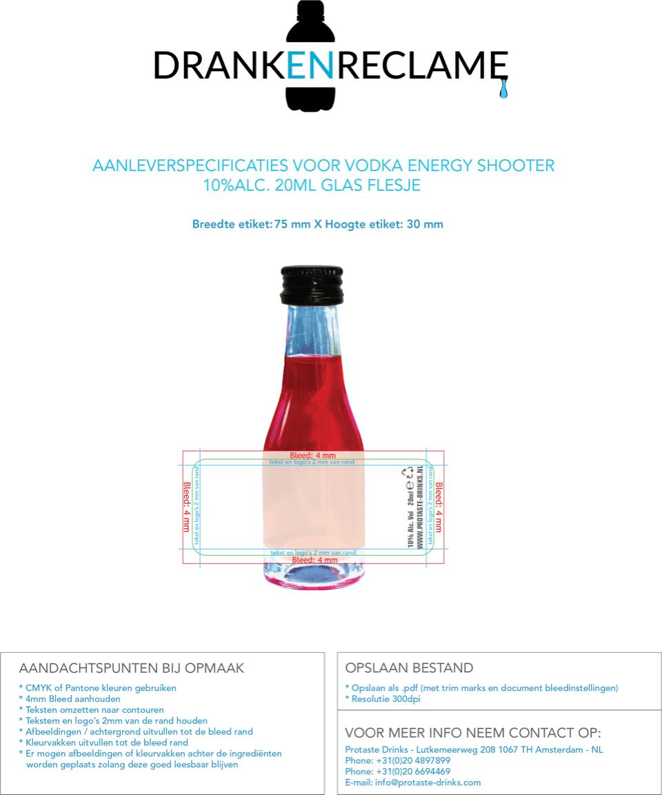 DrankenReclame Template Vodka Shooters ml Glas flesje Dutch